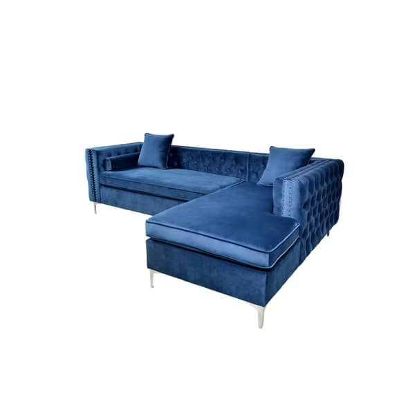 Outstanding Shop Florence Velvet Sectional Free Shipping Today Gmtry Best Dining Table And Chair Ideas Images Gmtryco