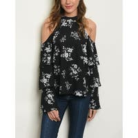 JED Women's Cold Shoulder Tiered Ruffles Floral Top