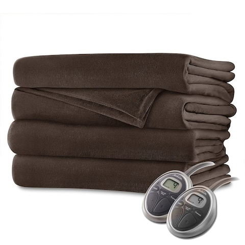 Sunbeam Velvet Plush Electric Heated Blanket King Size Walnut Brown