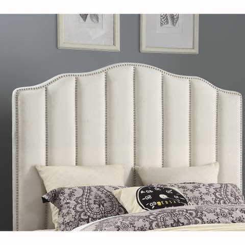 Cream Upholstered Channeled Queen Headboard with Nailhead Trim