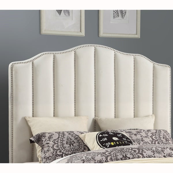 Cream Upholstered Channeled Queen Headboard with Nailhead Trim. Opens flyout.