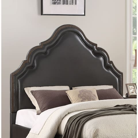 Traditional Black Upholstered Queen Headboard with Nailhead Trim