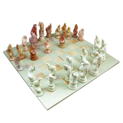 Mchezo Wa Vita- Handcarved Soapstone Chess Set, Animal Playing Pieces