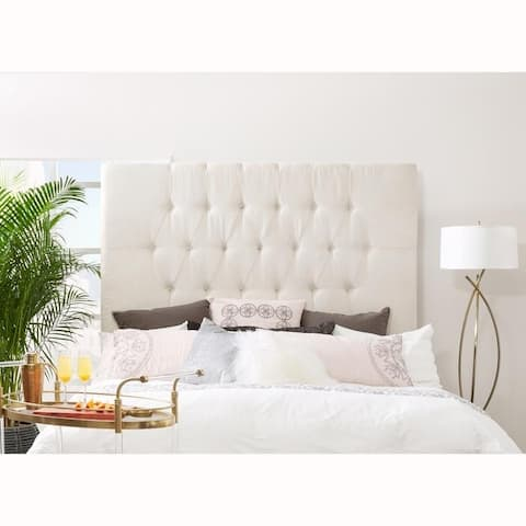 Tall Tufted Cream Upholstered Queen Headboard