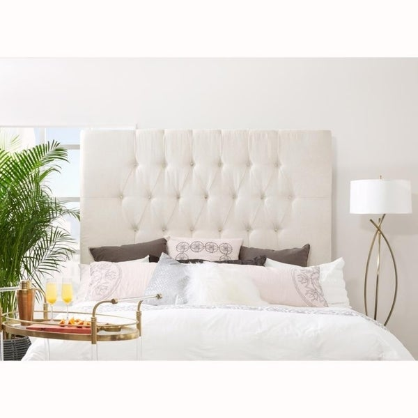 Tall Tufted Cream Upholstered Queen Headboard. Opens flyout.