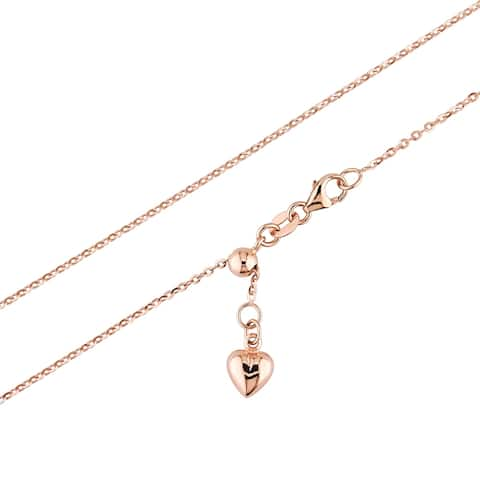 Miadora 18k Rose Gold Adjustable Heart Charm Cable Chain Necklace