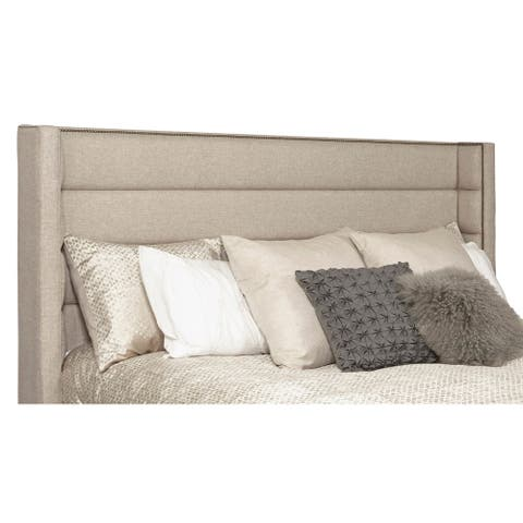 Wingback Channel Tufted Beige Upholstered Queen Headboard with Studs