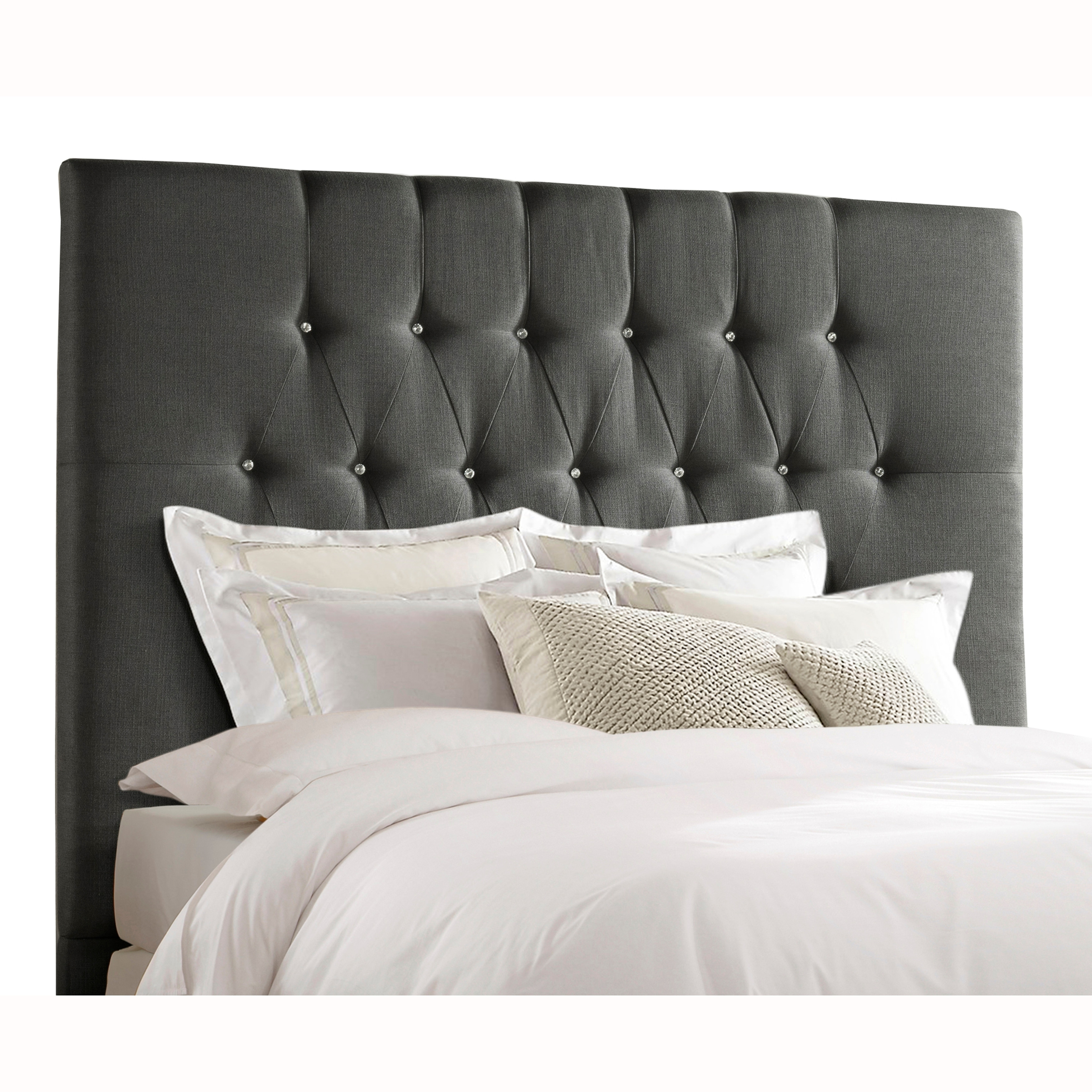 Shop Tall Tufted Charcoal Grey Upholstered King Headboard Overstock 27678931