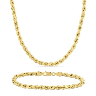 Miadora 10k Solid Yellow Gold Rope Chain Necklace And Bracelet Set 4 MM
