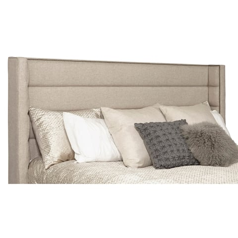 Wingback Channel Tufted Beige Upholstered King Headboard with Studs