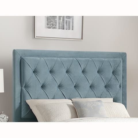 Mid Century Modern Button Tufted Blue Upholstered King Headboard