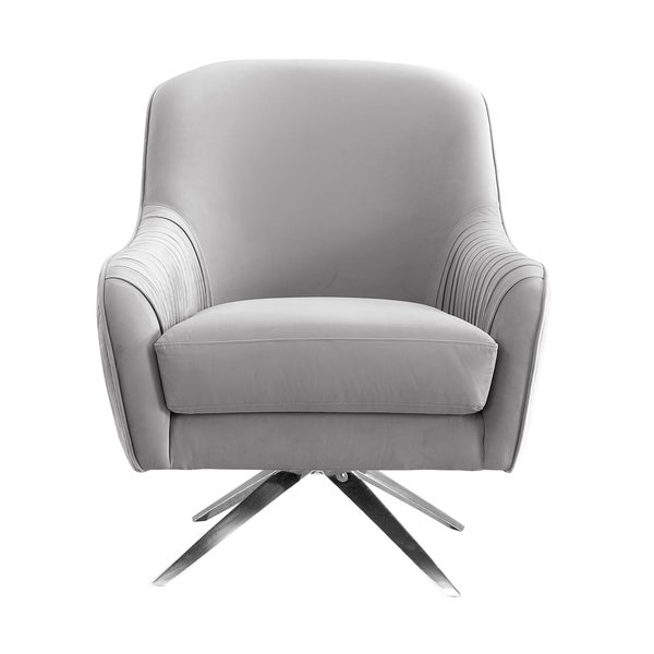 Shop grey fabric upholstered living room accent chair on - Upholstered living room chairs sale ...