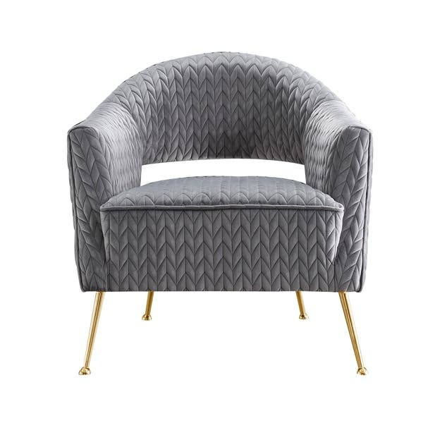 Surprising Glam Grey Velvet Upholstered Quilted Living Room Accent Chair Ibusinesslaw Wood Chair Design Ideas Ibusinesslaworg