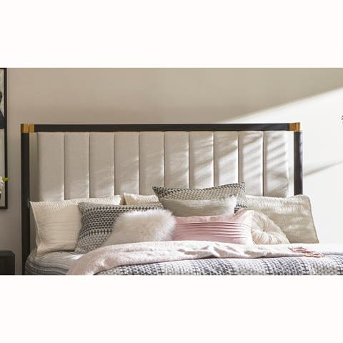 Modern Channel Tufted Vintage White Upholstered Queen Headboard