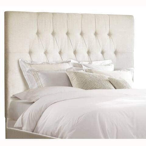 Tall Tufted Cream Upholstered King Headboard