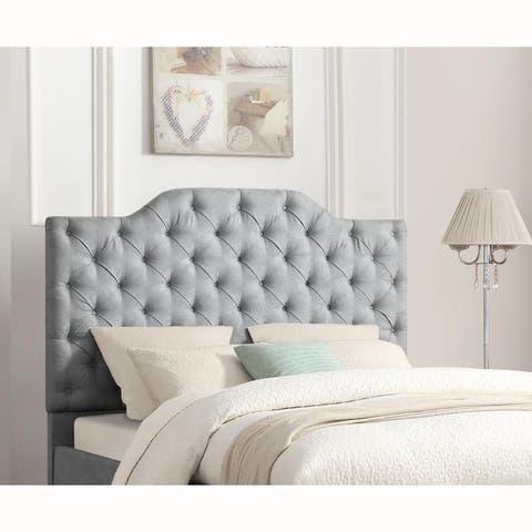 Tufted Blue Damask Leaf Pattern Upholstered King Headboard