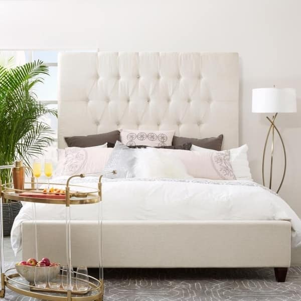 Tall Tufted Cream Upholstered King Bed