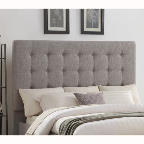 Mid Century Modern Button Tufted Grey Upholstered King Headboard