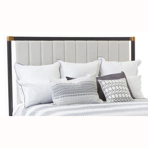 Modern Channel Tufted Vintage White Upholstered King Headboard