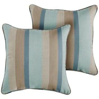 Sunbrella Blue Taupe Stripe Indoor/Outdoor Corded Throw Pillow, Set of 2