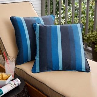 Sunbrella Indigo Stripe Indoor/Outdoor Corded Throw Pillow, Set of 2