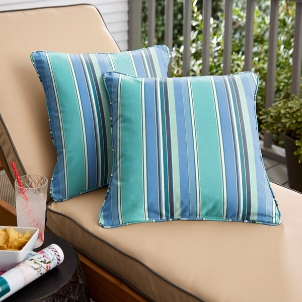 Havenside Home Blue Teal Stripe Indoor/Outdoor Corded Throw Pillow (Set of 2)