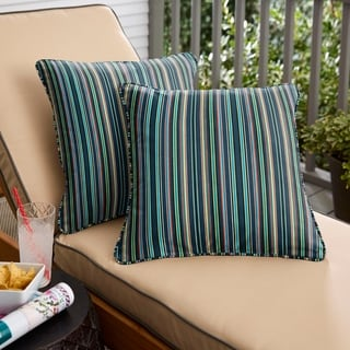 Havenside Home Blue Multi Stripe Indoor/Outdoor Corded Throw Pillow (Set of 2)