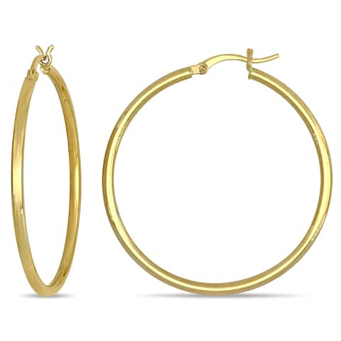 Miadora 10k Yellow Gold Classic Round Hoop Earrings (2 mm)