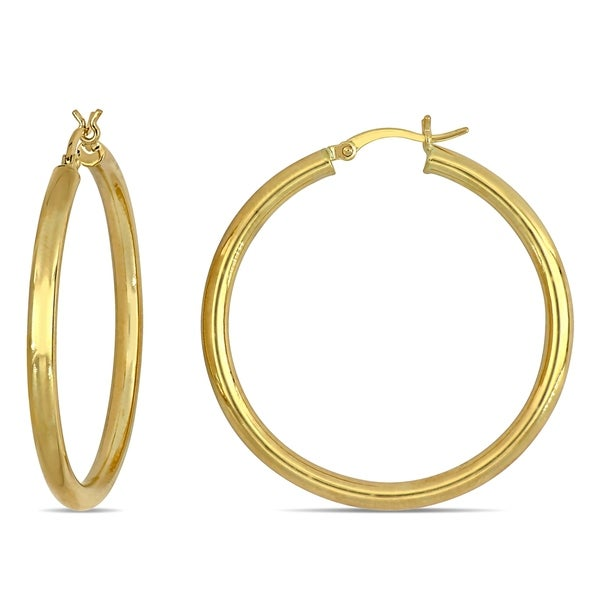 10k Yellow Gold Polish 3MM Wide Round Hoop Earring