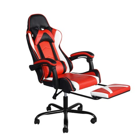 Porch & Den La Mesa Ergonomic High-back Racer Style Gaming Chair with Ottoman