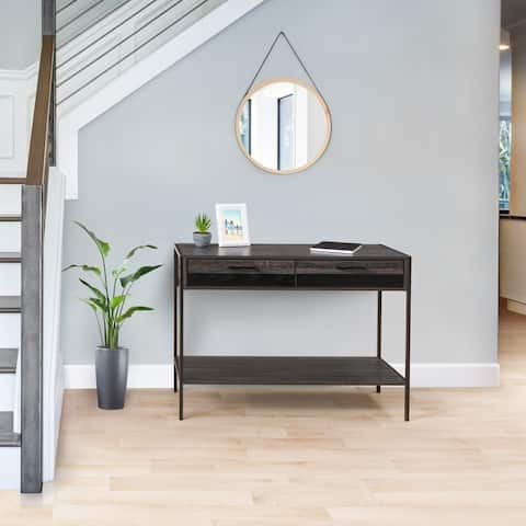 CorLiving Distressed Carbon Grey Entryway Table with 2 Drawers and Shelf