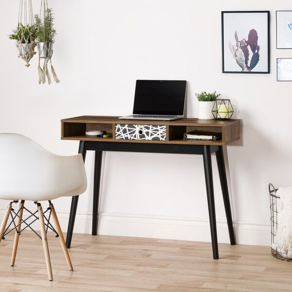 CorLiving Entryway Table or Desk with Abstract-Pattern Drawer and Cubbies