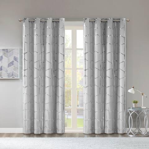 "Intelligent Design Khloe Total Blackout Metallic Print Grommet Top Curtain Panel 84""L in Ivory (As Is Item)"