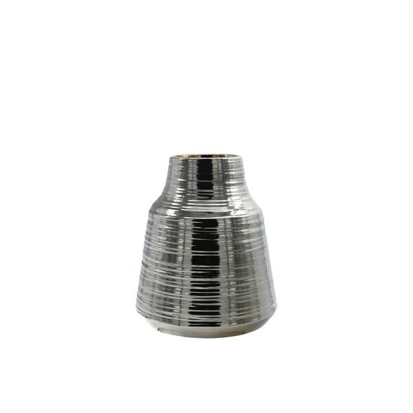 UTC45733: Ceramic Round Vase Electroplated Finish Silver