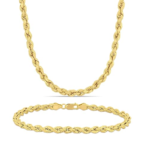 Miadora 14k Solid Yellow Gold Rope Chain Necklace and Bracelet Set (5 MM)