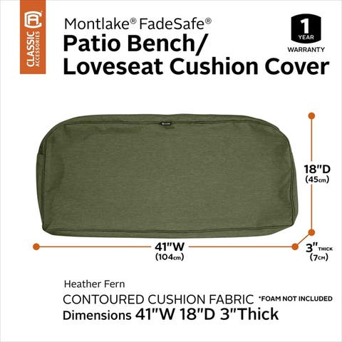 Classic Accessories Montlake Water-Resistant 41 x 18 x 3 Inch Patio Bench/Settee Cushion Slip Cover, Antique Beige