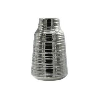 UTC45732: Ceramic Round Vase Electroplated Finish Silver