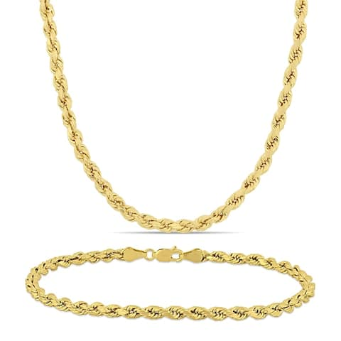 Miadora 10k Solid Yellow Gold Rope Chain Necklace and Bracelet Set (4 MM)