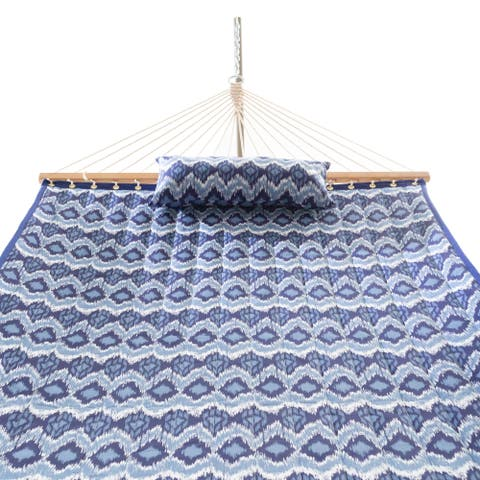 Havenside Home Elim Quilted Hammock Combo with Small Stand and Pillow Ikat