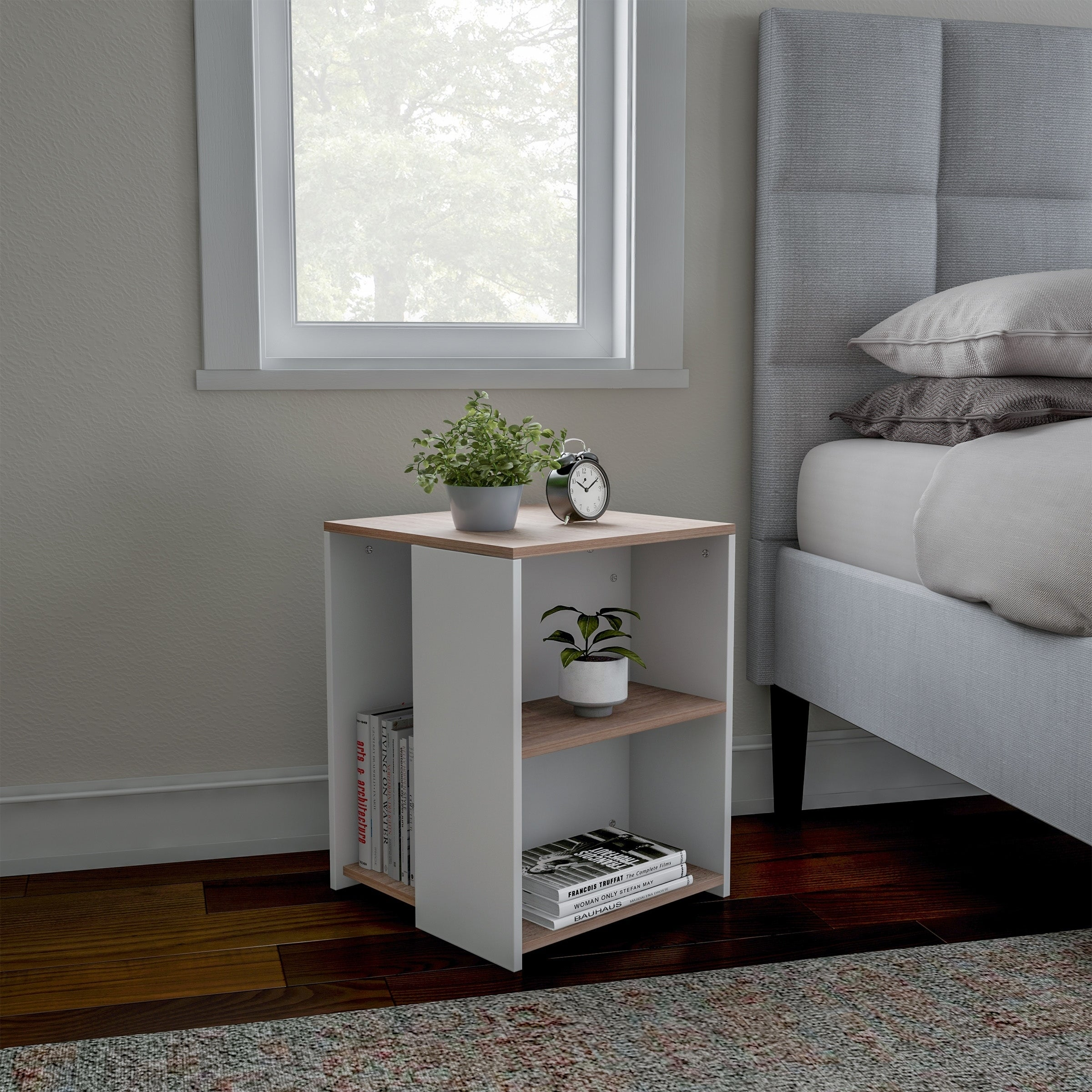 Porch Den Hartford Brown White Cube Accent Side Table With Open Shelves Overstock 27679251