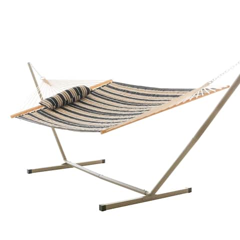 Havenside Home Elim Quilted Hammock Combo with Small Stand and Pillow Blue and Green Stripe