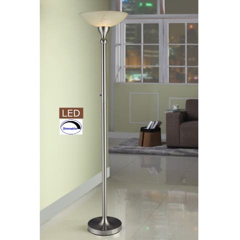 """Artiva 71"""" LED Torchiere Floor Lamp with Alabaster Glass Shade and Dimmer"""