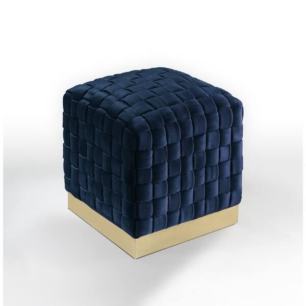 Super Shop Nicole Miller Annamay Velvet Ottoman Hand Woven Lamtechconsult Wood Chair Design Ideas Lamtechconsultcom