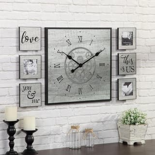 """FirsTime & Co.® Rustic Gears Gallery Set - 20"""" clock 6"""" plaques"""