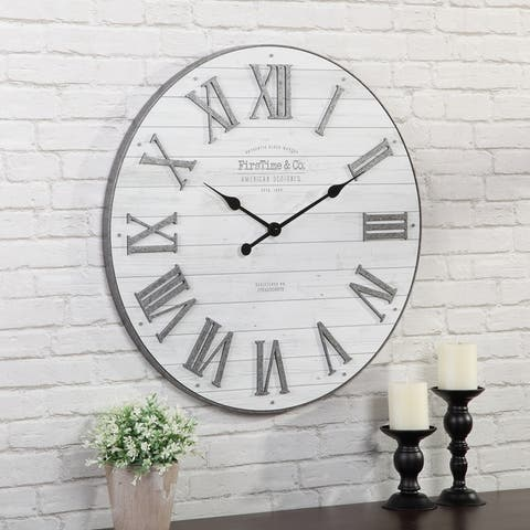 FirsTime & Co.® Emmett Shiplap Wall Clock