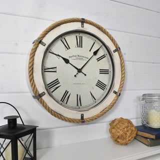 FirsTime & Co.® Whitewashed Rope Wall Clock