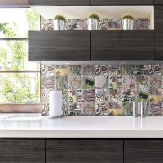 SomerTile Sporgente Decor York Ceramic 5.875-inch x 5.875-inch Wall Tile (22 Tiles/5.62 Square Feet)