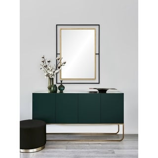 Renwil Gray Rectangle Framed Black,Antique Gold Mdf,Mirror,Iron Mirror