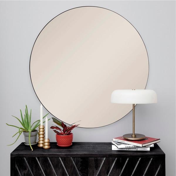 Strick & Bolton Round Black Iron Mirror
