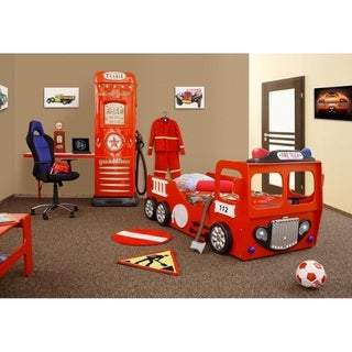 Red Fire Truck Kids Panel Bed with Mattress